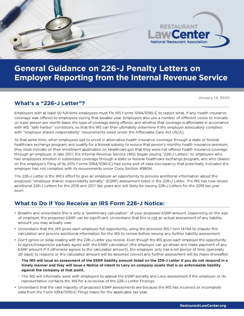 General Guidance on 226-J Penalty Letters on Employer Reporting from the Internal Revenue Service